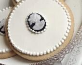 Cookies -Black and White Cameo - Set of 6 Orange Vanilla Spice Cookies