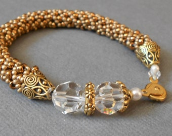gold beaded bracelet spiral bead jewelry seed bead bangle