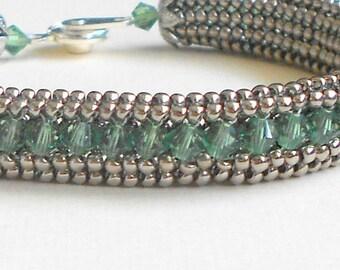 green beadwork bracelet