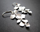 Silver Mod Orchid Cascading Three Flower Earrings, bridal jewelry, Blossom, Bouquet, Hydrangea