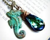 Ocean Life- Swarovski bermuda blue teardrop & verdigris seahorse charm necklace