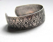 Vintage Oxidized Silver floral etched Cuff Bracelet, adjustable size, silver bangle