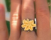 Lily Love- Oxidized brass Lily Flower Ring NEW