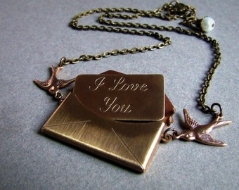 Love Note- I love you antiqued brass envelope necklace
