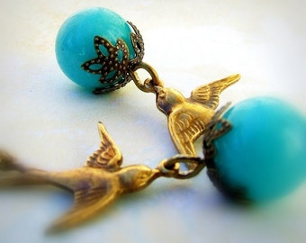Whimsical Romance- Turquoise and Brass Sparrow Earrings