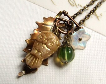 Owl and Leaf charm Toggle Necklace, flower charm, toggle clasp, multiple charms, cute gift