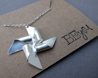 Matte Silver pinwheel charm necklace, unique necklace, modern, simple necklace, minimalist, pin wheel, windmill