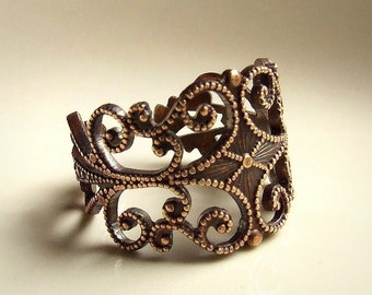 Art Nouveau Vintage Antiqued Brass Bronze Filigree Ring - Organic Beauty, vintage filigree, victorian, lacey, adjustable