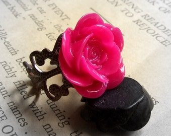 Oh so Kitsch- Antiqued solid brass resin rose ring- CHOOSE YOUR COLOR, large flower ring, great bridesmaids gift, colorful, bright