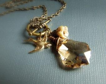 Swarovski baroque topaz crystal  and sparrow bird charm necklace, elegant bridal jewelry, wedding, faceted gem, simple, modern necklace