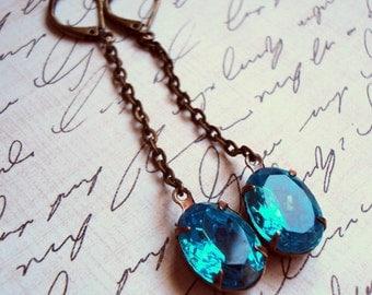 Aquamarine blue vintage jewel long chain earrings, oval stone, teal, aqua, bridal jewelry, something blue, small stone