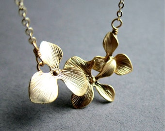 16k Gold Mod Orchid necklace, bridal jewelry, Three Flowers, Blossom, Bouquet, Hydrangea, Gift Ideas, Wife, Girlfriend, Mom