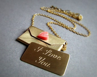 Gold I love you Brass envelope necklace with coral leaf, love locket, gold chain, long necklace