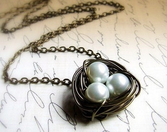 Nesting- Birds nest Necklace, mother's gift, womens jewelry, wire wrapped pearls, symbolic