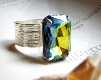 Brushed Brilliance- Large Sterling silver plated vintage glass jewel ring with large colorful rectangle vintage jewel