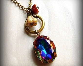 Vintage volcano colorful jewel necklace, oval charm, flower charms, blue jewel necklace ON SALE