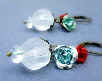 Antiqued brass Lucite Earrings with enameled metal roses, red rose, teal rose, shabby chic, multiple charms, dainty, elegant, bridal gift
