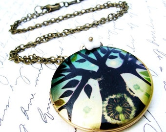 Modern tree locket necklace, bright blue colors, photo locket, long chain, winter tree, teal, large round locket