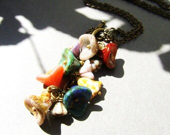 Czech glass flower cluster rose toggle clasp necklace, colorful flower charms, long necklace, toggle clasp, front closure