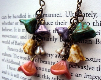 Summer Blooms- Picasso czech glass flower earrings, peach, green, cream, purple flowers, garden inspired
