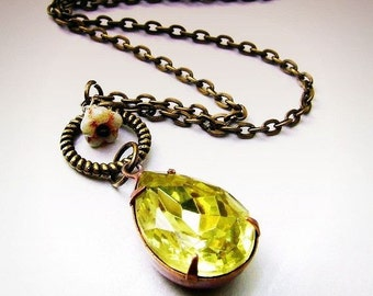 Canary Yellow- antiqued brass, vintage pear glass jewel necklace, pear drop, faceted jewel necklace