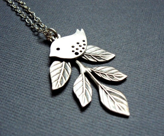 Modern Leaf & Sparrow necklace, silver leaf charm, branch jewelry, mod leaves, bird jewelry, bridesmaid gift