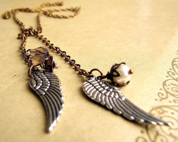 Antiqued brass angel wings lariat charm necklace, silver wings, small charms, bird wing jewelry