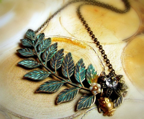Organic fern leaf charm necklace, with verdigris green patina, branch necklace, owl charm, flower cluster, large statement necklace