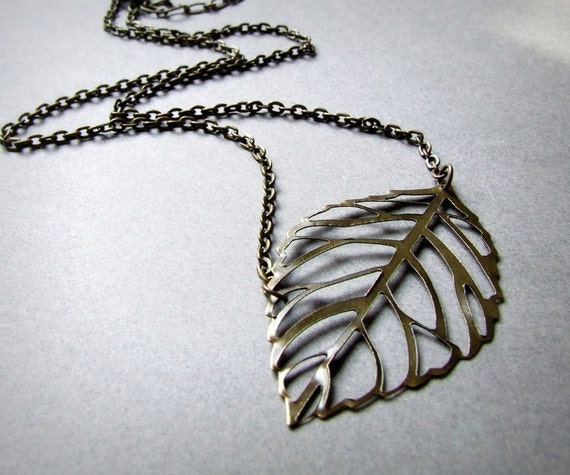 Floating Leaves- Brass leaf necklace. Available in Bronze, Gold or Silver