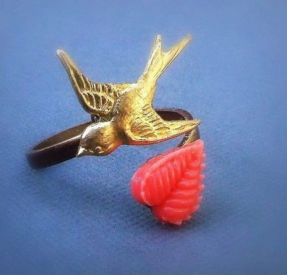 Flying High-  Antiqued brass sparrow ring,  nature inspired, bird ring, unique, adjustable, coral heart leaf