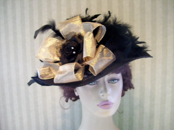 Kentucky Derby Victorian Hat Black Feathers Church Hat Wide Brim Hat  Ribbon Large Rose
