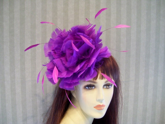 Kentucky Derby Hat Feather fascinator Bridal Wedding Lolita Victorian Hat  Feather Hat Purple feather pink coque feathers
