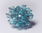 Stunning Light Blue  Cluster- Adjustable Ring FREE SHIPPING