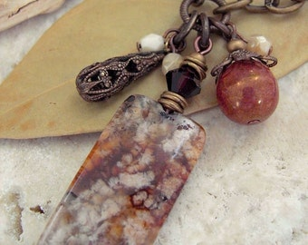 """Agate Necklace - 20"""" Natural Brass Chain - Glass, Crystal and Brass Charm Tassel - Stone Pendant - Antique Style"""
