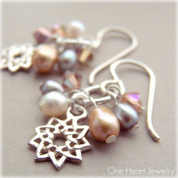 Nine Pointed Star Golden Pearl Cluster Earrings- Baha'i Gifts