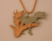Tyrannosaurus Rex with Foliage Pendant w/ Ball Chain Necklace