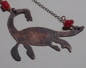 Lochness Monster Nessie Necklace in Copper with Coral Beads