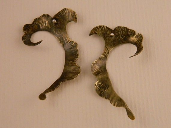 Brass Curved Hammered Earrings with patina