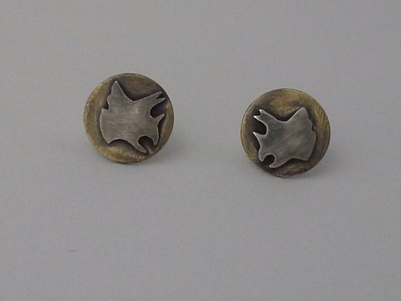 Triceratops Cameo Stud Earrings in Brass and Nickel