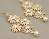 gold filigree bridal earrings with swarovski crystals and pearls. holiday earrings. bridesmaid gift for her.