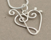 treble clef bass clef heart necklace. music jewelry. MINI Love of Music necklace heart. sterling silver music heart pendant. treble clef