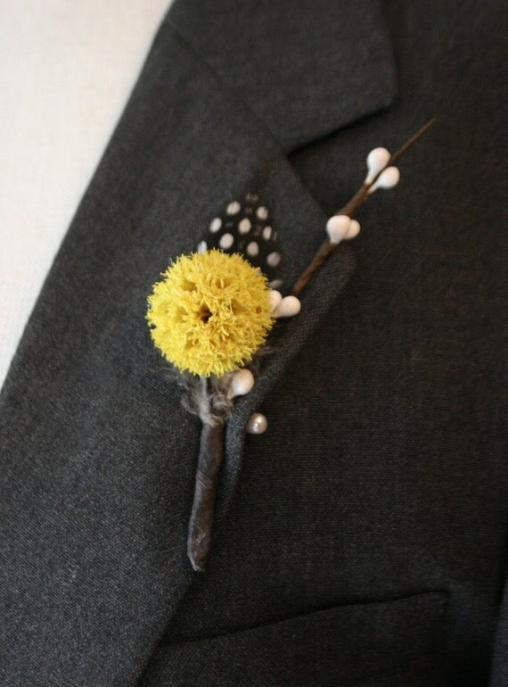 Polka Dots . Yellow Bur . Guinea Feather . Bud Branch . BOUTONNIERE or Corsage