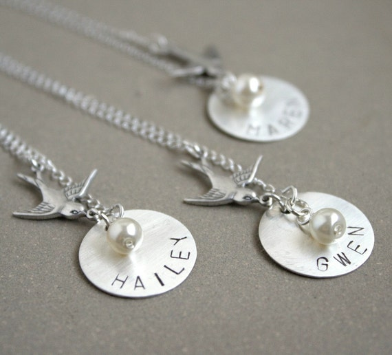 THREE bridesmaid necklaces, sterling personalized birthstone and bird
