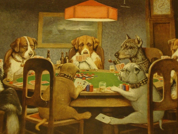 A friend in Need by C Coolidge Dogs Playing Poker