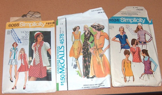 Pattern Vintage McCall's Simplicity patterns dress jacket dress tie blouse tank top