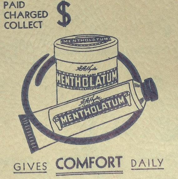 Vintage Paper Bag  Advertising Metholatum Pharmacy Drug Store