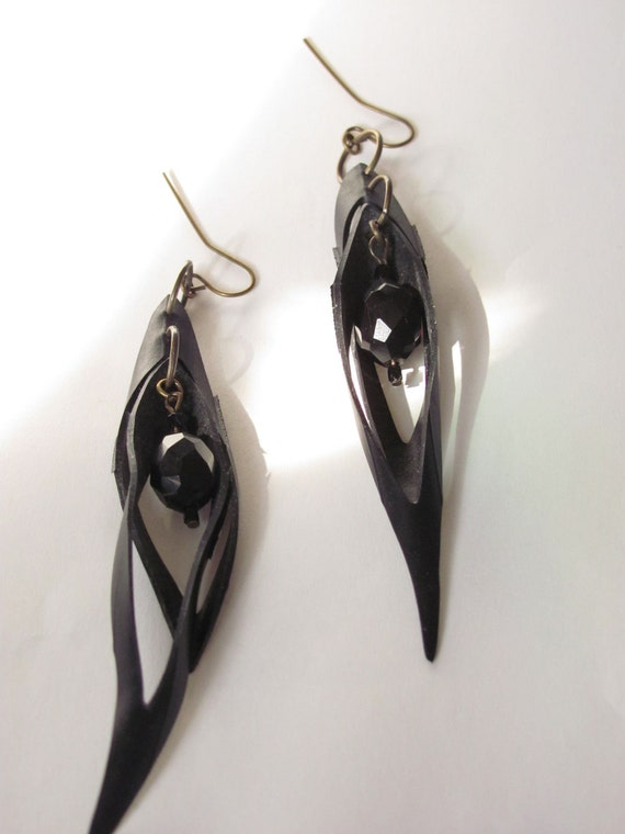 Upcycled gothic bicycle tube earrings
