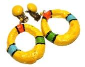 Vintage Clay Dangling Loop  Earrings