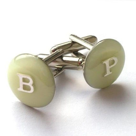 INITIALLY ME--Ivory Epoxy Resin Custom Initial Monogram Cufflinks (Two Letters)--Dozens of Colors Available