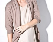 Womens la vie french terry cardigan, taupe